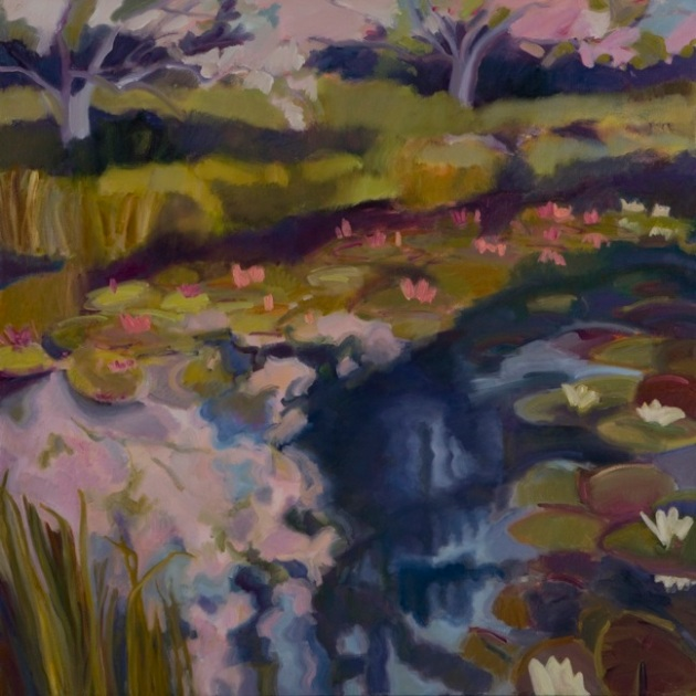 "Marsha_Connell_Pond in Bloom_5_o/c_36""x36"", 2008"