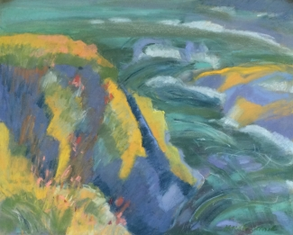 Marsha Connell_Bluff–Looking Down_pastel_16x20""