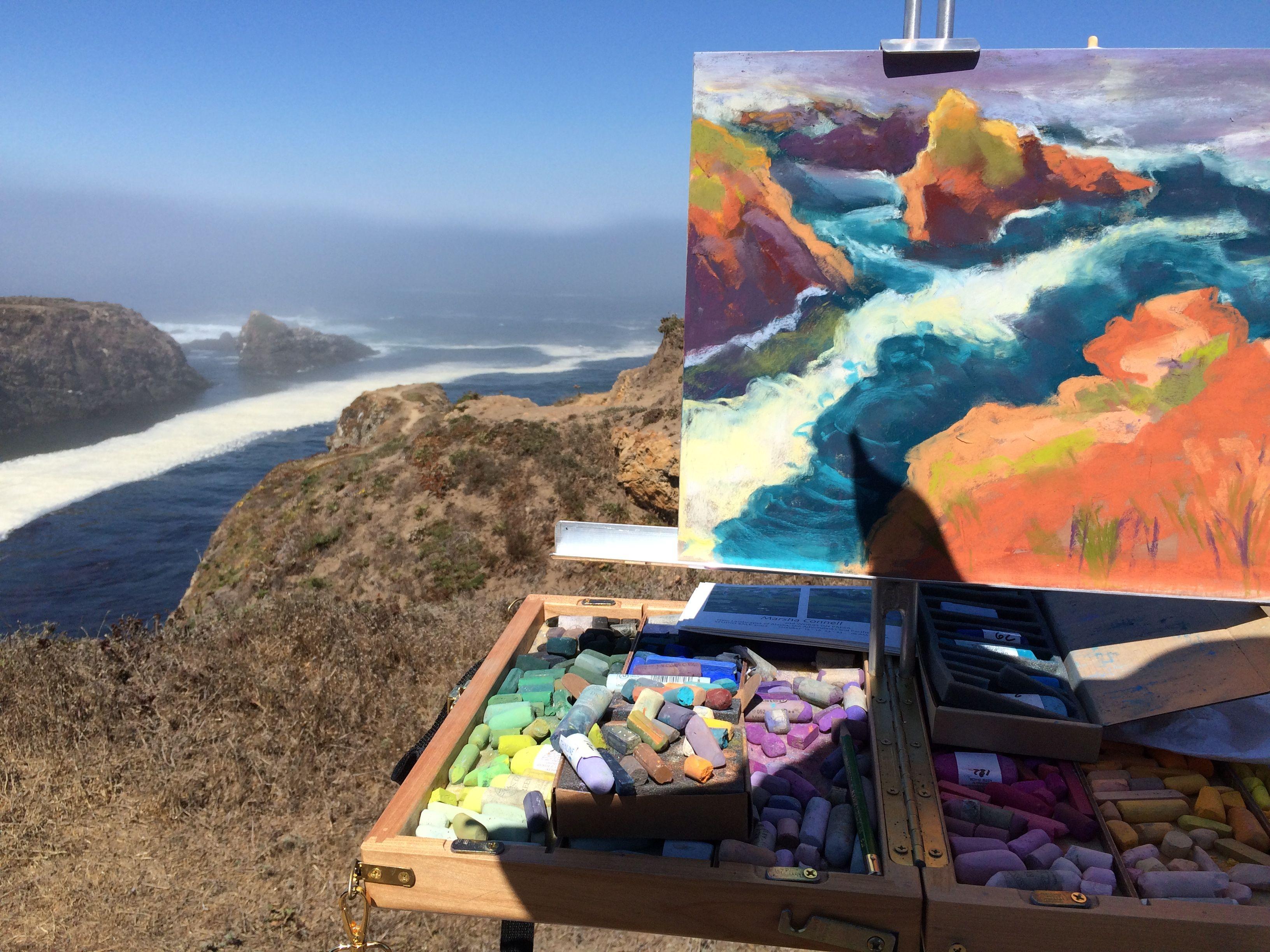 Pastel painting in progress Mendocino Headlands West 2