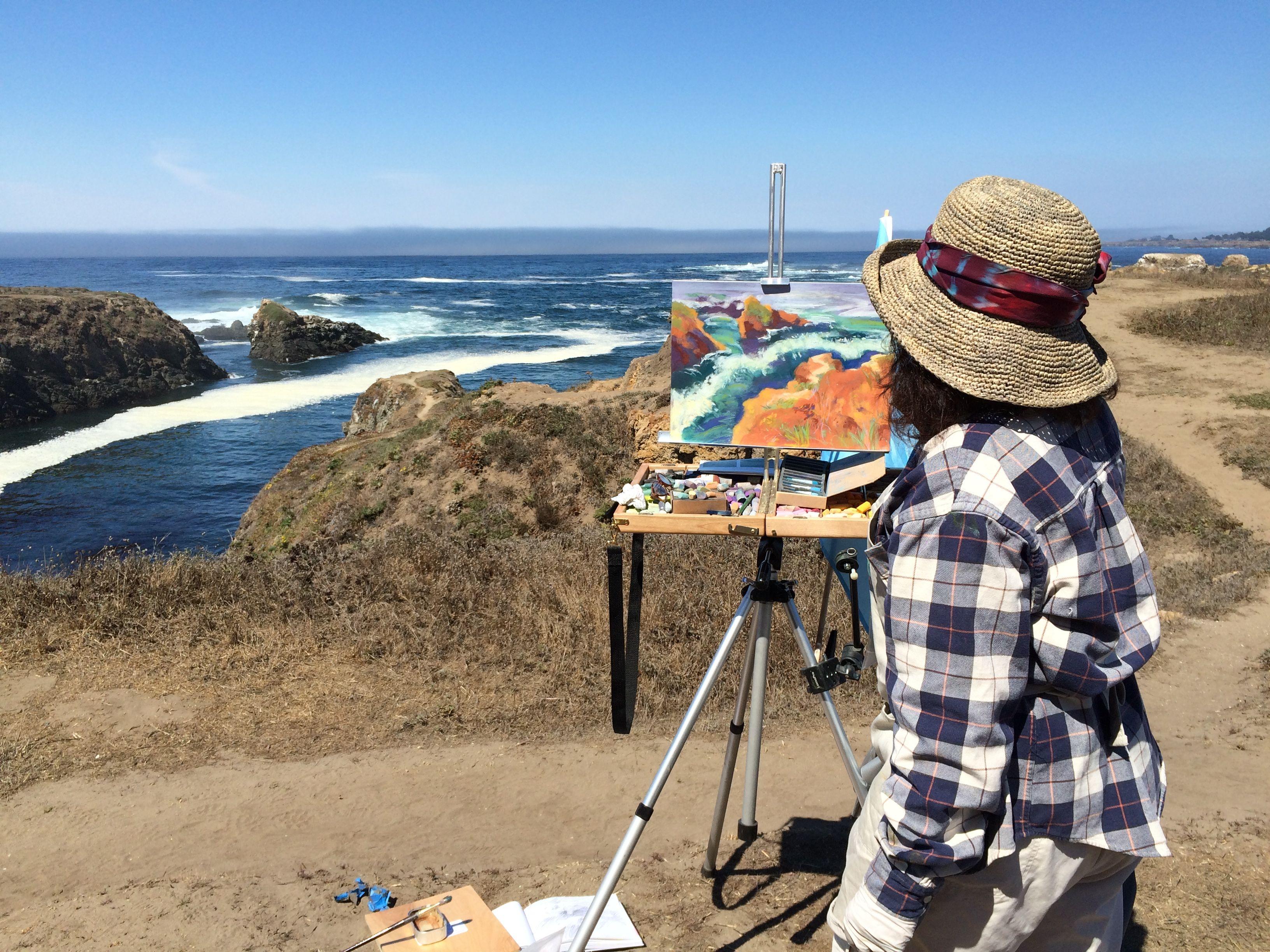 Pastel painting in progress Mendocino Headlands West 3