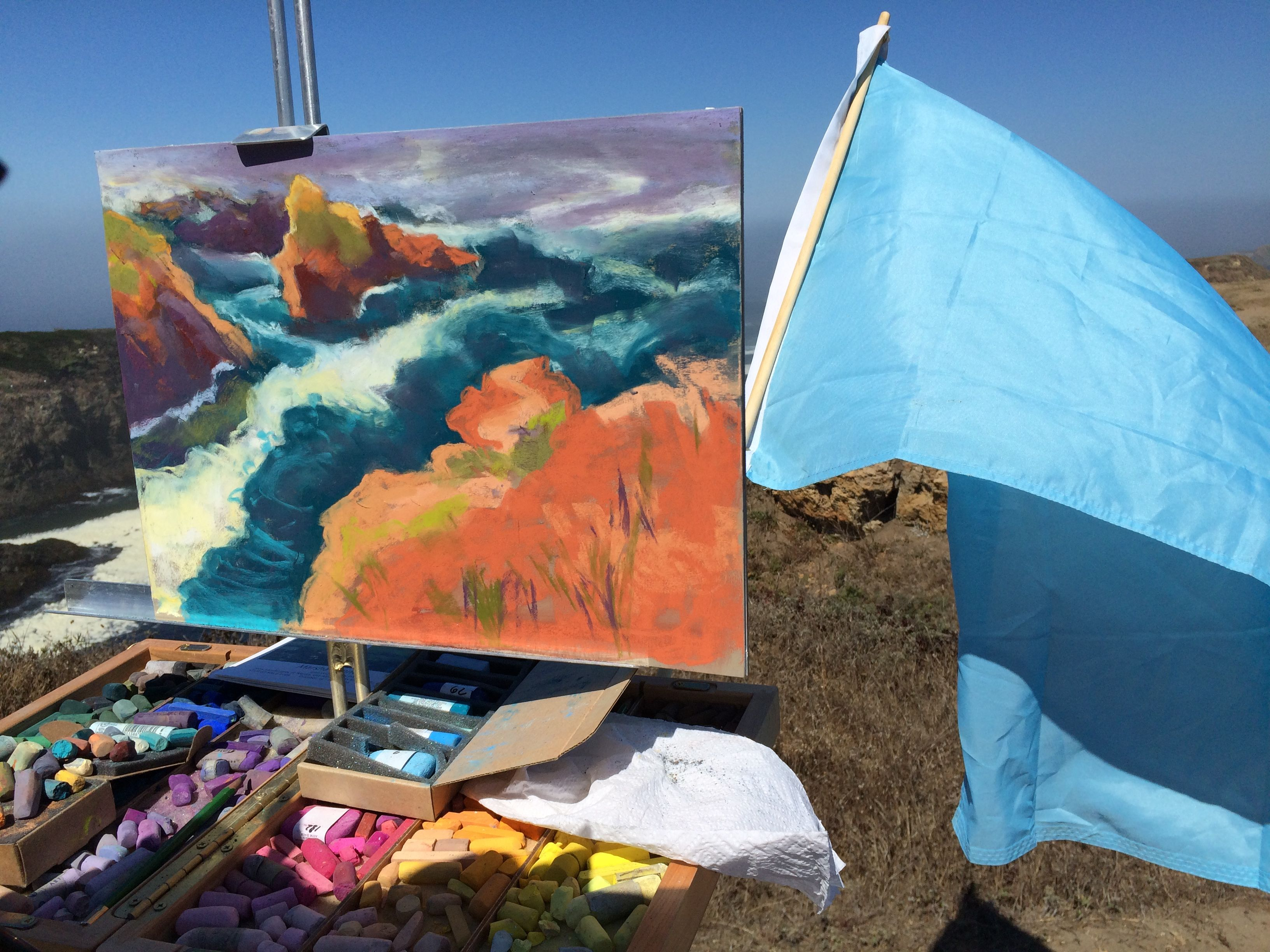 Pastel painting in progress Mendocino Headlands West