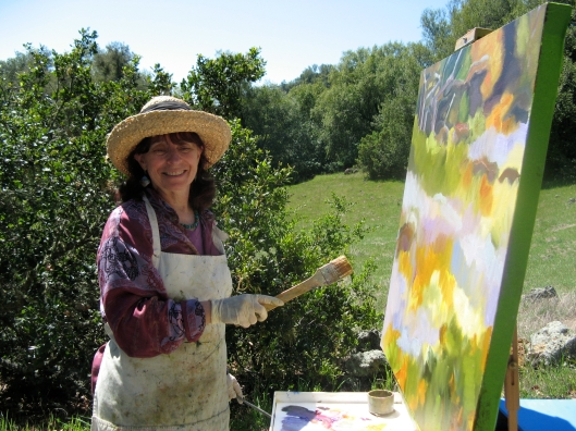 Marsha Connell painting Wildflower Hill at Pepperwood, 2.JPG