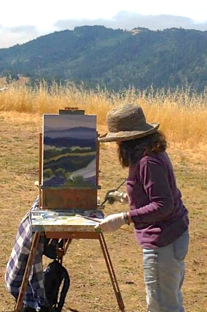 Marsha Connell demonstrates painting at Pepperwood Preserve